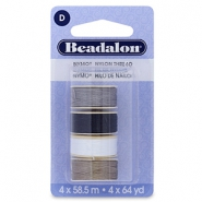 Nymo Wire 0.3mm Beadalon 4 Stück White, grey, brown, black