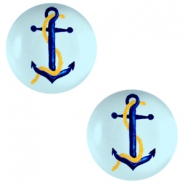 Cabochons Basic 12mm Anchor-sky blue