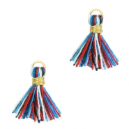 Quaste Perlen 1cm Gold-Multicolour red blue