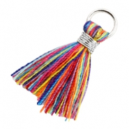 Quaste Perlen 1.8cm Silber-Multi colour red blue