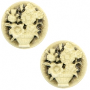 Cabochons Basic Camee 20mm Blumenstrauss Black-antique gold