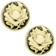 Cabochons Basic Camee 12mm Rose Black-antique gold