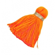 Quaste Perlen Ibiza Style 3.6cm Gold-bright neon orange