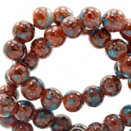 Glas Perlen 4 mm stone look Rose brown-turquoise