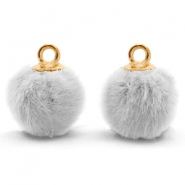 Anhänger Pompom mit Öse faux fur 12mm Light grey-gold