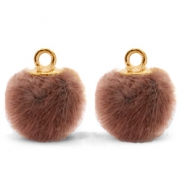Anhänger Pompom mit Öse faux fur 12mm Red brown-gold
