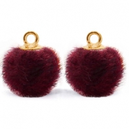 Anhänger Pompom mit Öse faux fur 12mm Port purple red-gold