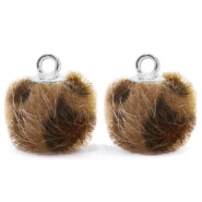 Anhänger Pompom mit Öse faux fur Leopard 12mm Chocolate brown-silver