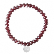 Facetten Glas Armband Sisa 6x4mm (Anhänger RVS) Burgundy red-pearl shine coating