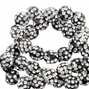 Perlen Strass 10 mm Black-silver