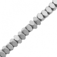 Perlen aus Hematite Facett Disc Matt Light grey
