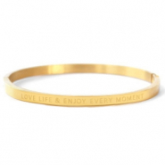 "Stainless Steel - Rostfreiem Stahl Armbänder ""LOVE LIFE AND ENJOY EVERY MOMENT"" Gold"