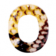 Anhängern aus Resin Oval 48x40mm Snake shiny Yellow -brown