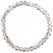 Top Facetten Glas Armband 6x4mm Greige crystal-pearl shine coating
