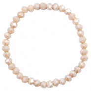 Top Facetten Glas Armband 6x4mm Champagne greige opal-pearl shine coating