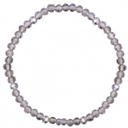 Top Facetten Glas Armband 4x3mm Grey crystal- pearl shine coating