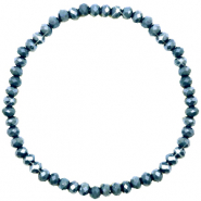 Top Facetten Glas Armband 4x3mm Dark blue-pearl shine coating