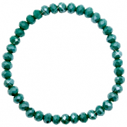 Top Facetten Glas Armband 6x4mm Petrol green-pearl shine coating