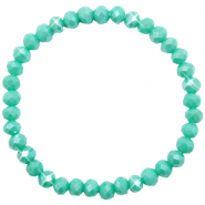 Top Facetten Glas Armband 6x4mm Turquoise green-pearl shine coating