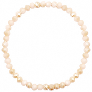 Top Facetten Glas Armband 4x3mm Nude beige-half pearl shine coating