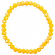 Top Facetten Glas Armband 6x4mm Freesia yellow opal-pearl shine coating
