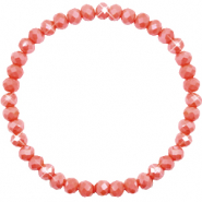 Top Facetten Glas Armband 6x4mm Vintage rose peach-pearl shine coating