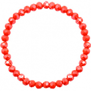Top Facetten Glas Armband 6x4mm Coral red-pearl shine coating