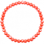 Top Facetten Glas Armband 6x4mm Coral orange-pearl shine coating