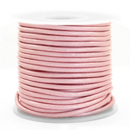 DQ Leder Spar Rollen rund 3 mm Powder pink metallic