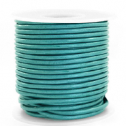 DQ Leder Spar Rollen rund 3 mm Tiffany blue metallic
