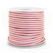 DQ Leder Spar Rollen rund 2 mm Powder pink metallic