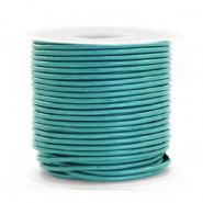 DQ Leder Spar Rollen rund 1 mm Tiffany blue metallic