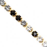Strass Kette Black crystal-gold