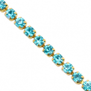 Strass Kette Turquoise blue-gold