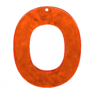 Anhänger aus Resin oval 48x40mm Tangerine tango orange
