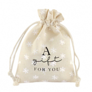 "Leinen Schmuck Beutel ""a gift for you"" Snowflake Off white"