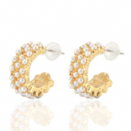 Musthave Ohrringe pearl Creolen 18mm Gold-off white