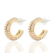 Musthave Ohrringe pearl Creolen 20mm Gold-off white