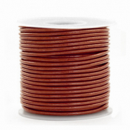 DQ Leder Spar Rollen rund 1 mm Dark Russet brown metallic