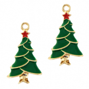 Anhänger Metall Basic Quality Christmas Tree Gold-grün