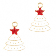 Anhänger Metall Basic Quality Christmas Tree Gold-weiss
