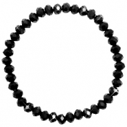 Facetten Glas Armband 6x4mm Jet black-pearl shine coating