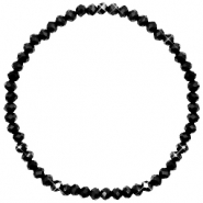 Facetten Glas Armband 4x3mm Jet black-pearl shine coating