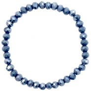 Facetten Glas Armband 6x4mm Blue stone-pearl shine coating
