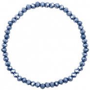 Facetten Glas Armband 4x3mm Blue stone-pearl shine coating