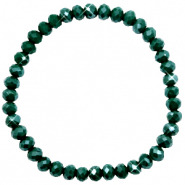 Facetten Glas Armband 6x4mm Dark eden green-pearl shine coating