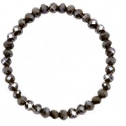 Facetten Glas Armband 6x4mm Dark olive green-pearl shine coating