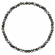 Facetten Glas Armband 4x3mm Dark olive green-pearl shine coating