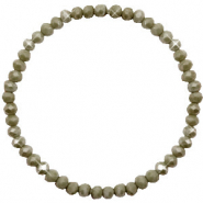 Facetten Glas Armband 4x3mm Olive green-pearl shine coating