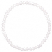Facetten Glas Armband 4x3mm White opal-pearl shine coating